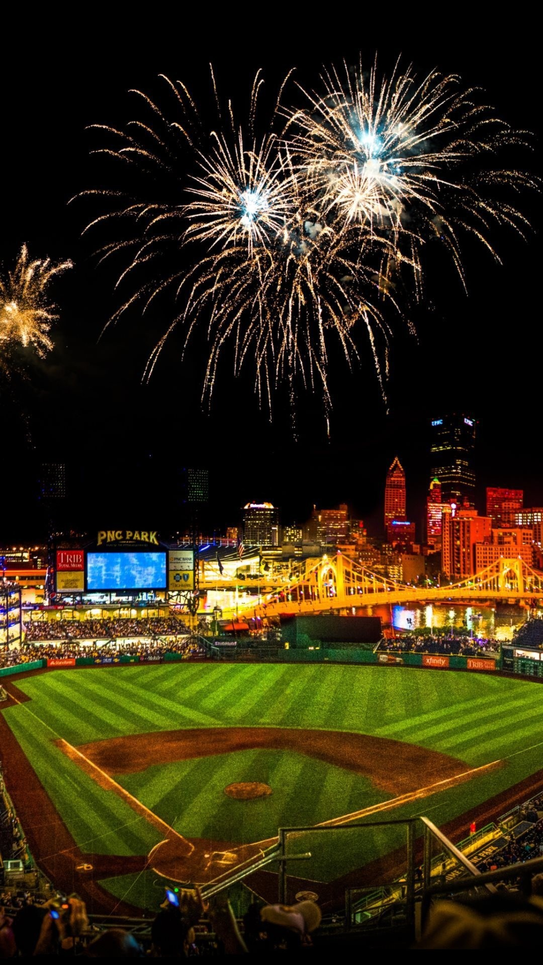 Baseball hd wallpapers for iphone 7 wallpapers baseball stadium with fireworks in the night voltagebd Image collections