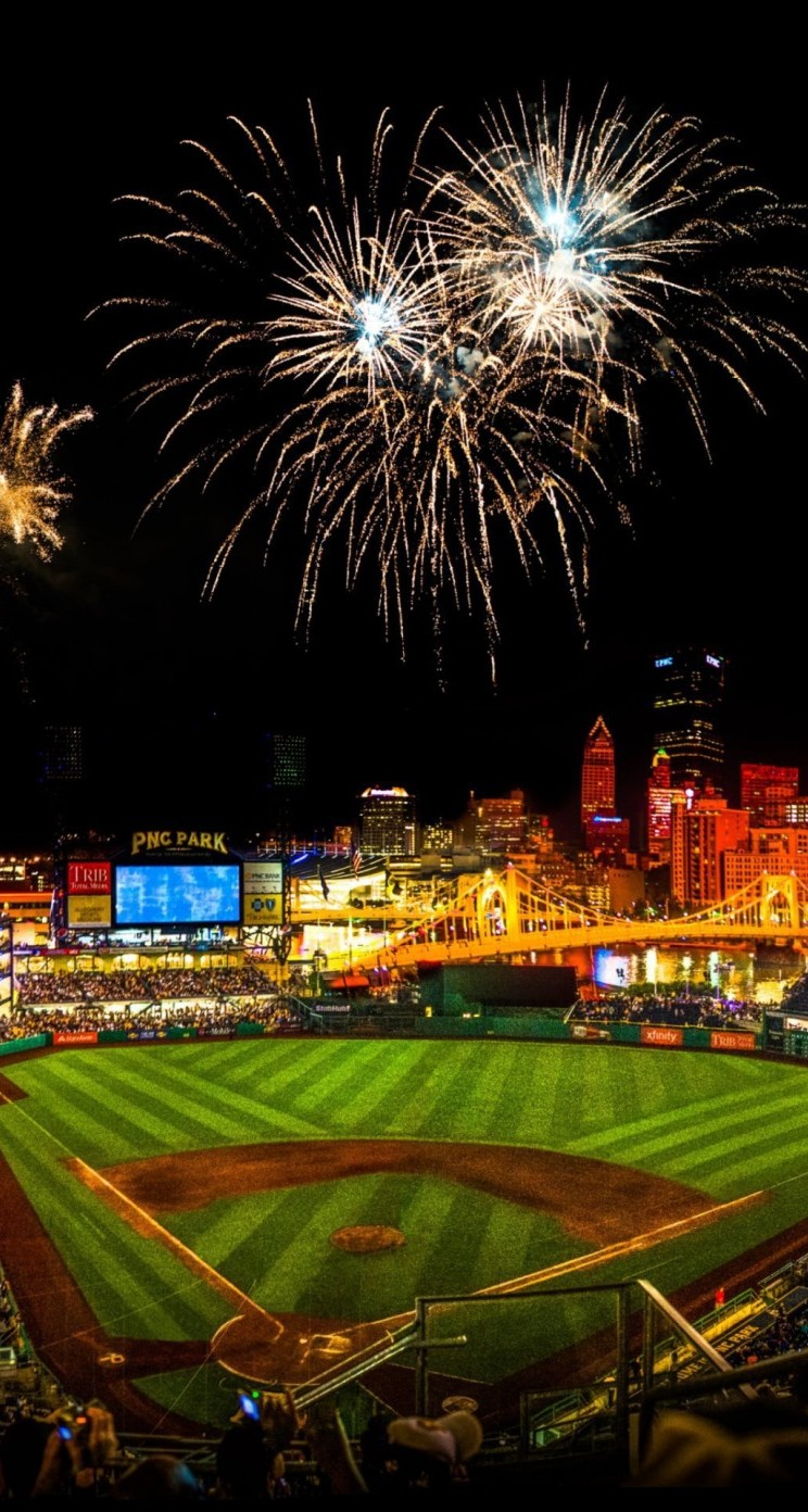 Baseball Stadium With Fireworks In The Night