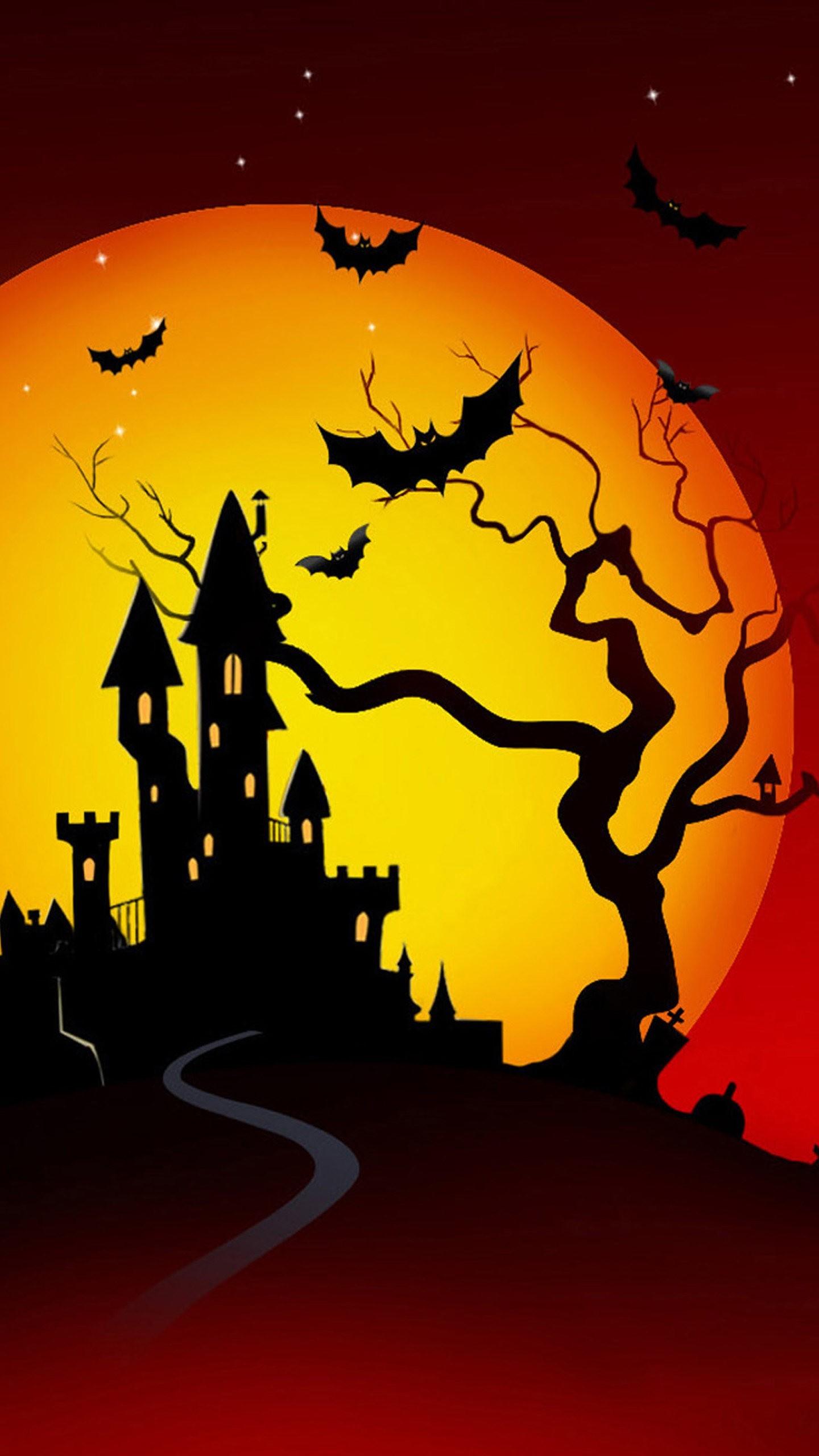 Cool Wallpaper Halloween Galaxy S6 - halloween-bats-and-castle-wallpaper-background-1440x2560  Picture_1003150.jpg