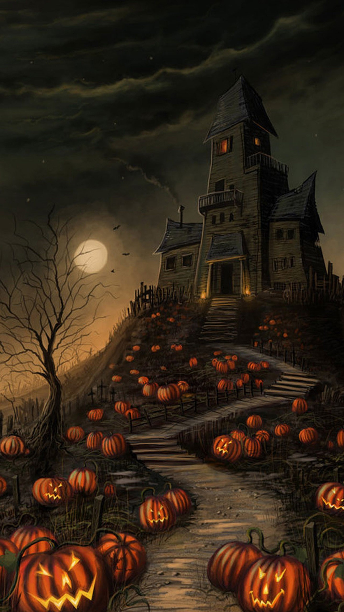 Top Wallpaper Halloween Galaxy - halloween-hunted-castle-wallpaper-background-1440x2560  Image_912190.jpg
